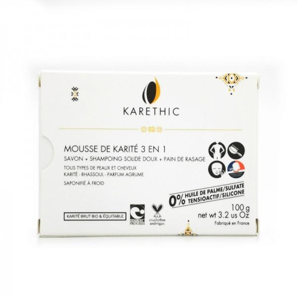 Savon, shampoing et pain de rasage karethic Mousse de karité 3 en 1 100g