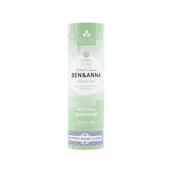 Déodorant Stick Sensitive Lemon & lime tube en carton Ben & Anna 60g