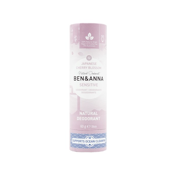 Déodorant Stick Sensitive Japanese Cherry Blossom tube en carton Ben & Anna 60g