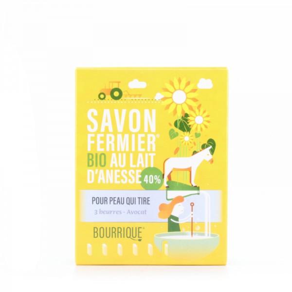 Savon au lait d'ânesse 40% 3 beurres bio Bourrique 100g
