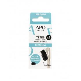 2 têtes de brosse à dents rechargeabke Medium APO