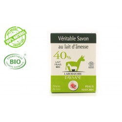 Savon au lait d'ânesse 40 % pétales de rose et huile d'argan laboratoire paysane