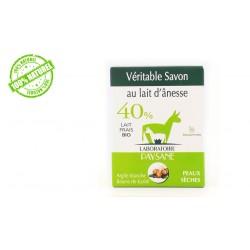 Savon au lait d'ânesse 40% argile blanche et beurre de karité laboratoire paysane