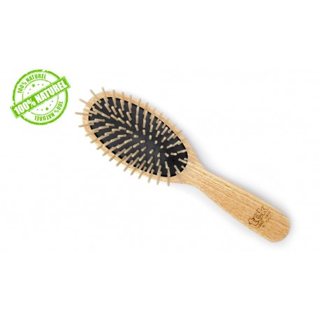 Grande Brosse à cheveux en bois ovale Tek