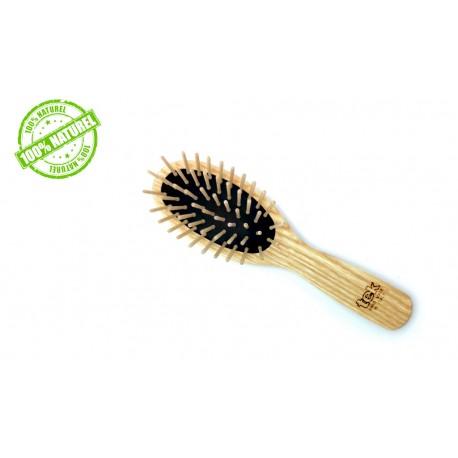 Petite brosse a cheveux ovale en bois Tek