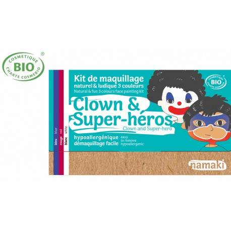Kit maquillage bio 3 couleurs Enfants Clown et Super Héros Namaki