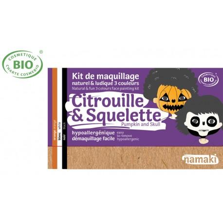 Kit maquillage bio 3 couleurs Enfants Citrouille et Squelette Namaki