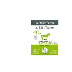 Savon au lait d'ânesse 40% argile verte patchouli romarin laboratoire paysane