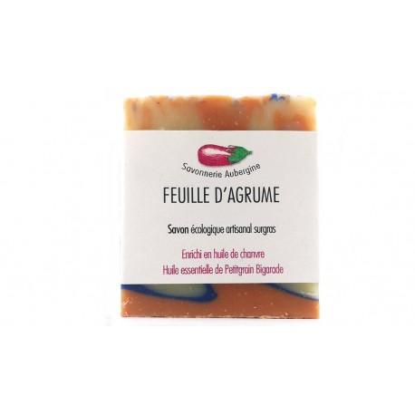 Savon feuille d'agrume savonnerie Aubergine 100g