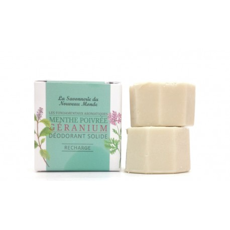 2 recharges déodorant solide 30ml menthe poivrée géranium la savonnerie du nouveau monde