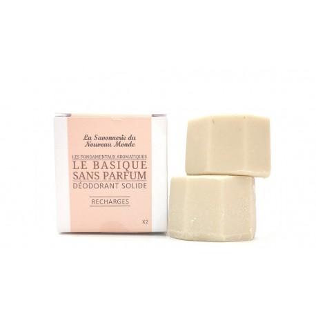 2 recharges déodorant solide 30ml le basique sans parfum la savonnerie du nouveau monde
