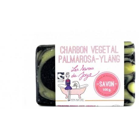 Savon au charbon vegetal palmarosa et ylang Les savons de Joya 100g