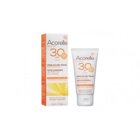 Crème  solaire bio teintée Haute protection SPF 30 Acorelle 50ml
