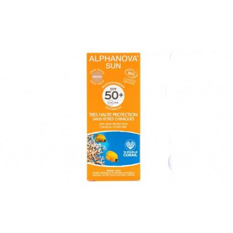 Crème protection solaire teintée medium bio très haute protection SPF 50+ Alphanova Sun 50g