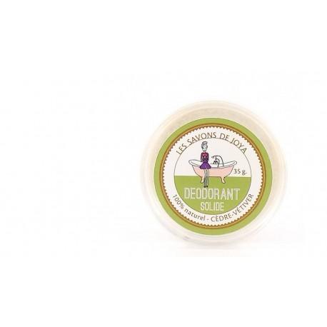 Déodorant solide en boîte cèdre et vétiver Les savons de Joya 35-45g