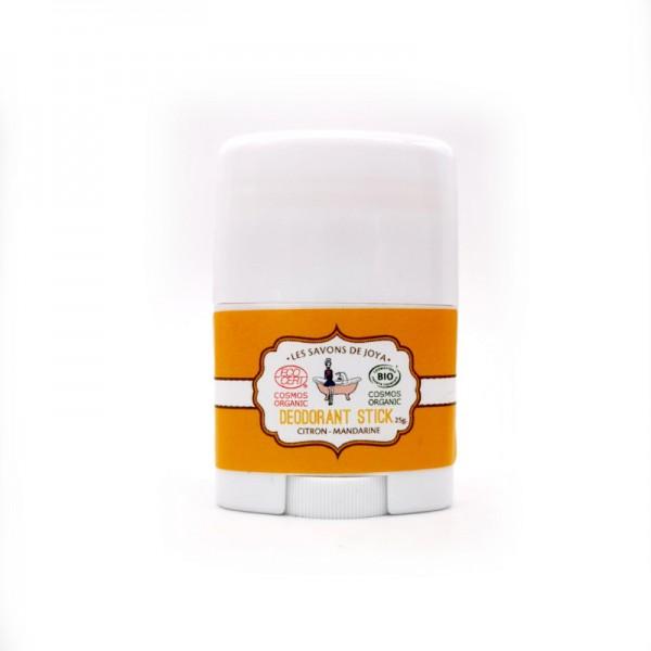 Déodorant bio en stick format mini rechargeable citron mandarine Les savons de Joya 25g