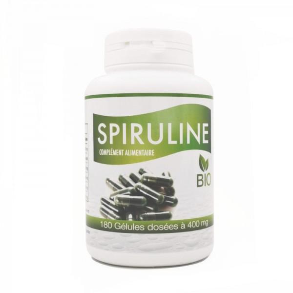 Pilulier de 180 gélules végétales dosées à 400mg de Spiruline Bio Gph Diffusion
